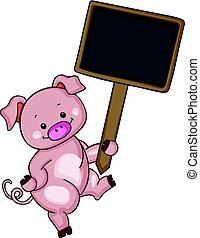 cute, porca, madeira, segurando, sinal branco