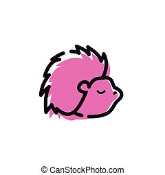 cute porcupine animal isolated icon