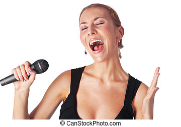 cute portrait of woman singing with a microphone isolated in white background