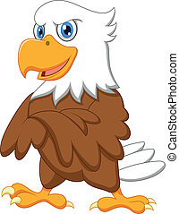 cute, posar, caricatura, águia