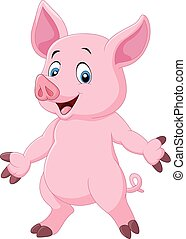 cute, posar, caricatura, porca
