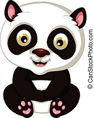 cute, posar, panda, caricatura