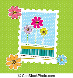 cute postage - postage with cute flowers over green...