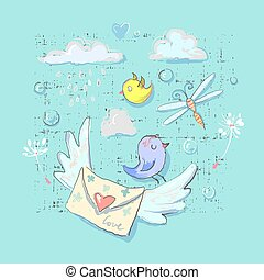 Cute Postal birds and delivery elements set. Cartoon set of postal bird vector objects for web and prints