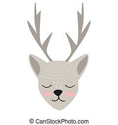 cute., postcard., roupas, escandinavo, deer., children's., print., style., seu, design.