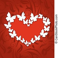 Cute postcard with heart made in paper butterflies for Valentine Day, copy space for your text