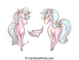 Cute poster, greeting card, apparel print with two unicorns and heart with wings. Cartoon character. Doodle vector illustration. Decorative sketch art. Isolated on white