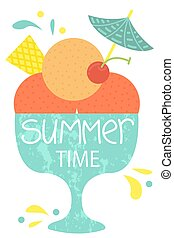 Cute poster of summertime. Vector design concept for summer. Ice cream in a bowl