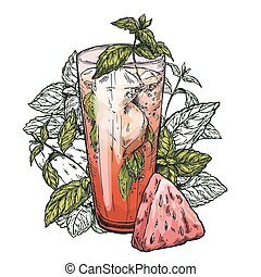 mojito cocktail, watermelon and mint leaves - Cute poster or...