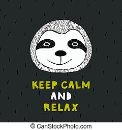 Cute poster with hand drawn funny sloth.