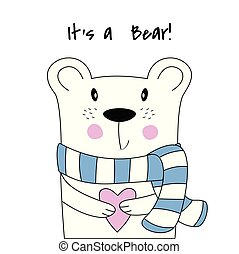 Cute poster with polar bear in hand drawn style.