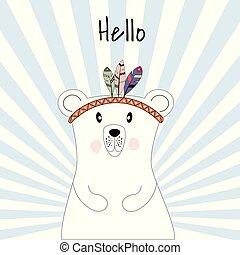Cute poster with polar bear plays the Indians