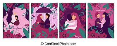valentines day greetings vector illustration of a couple in love.