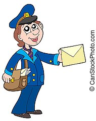 Cute postman with letter - isolated illustration.