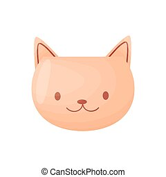 Cute pot in the form of a muzzle of a cat. Vector illustration on white background.