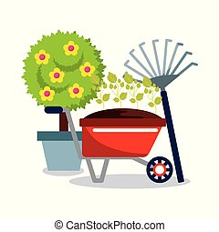 cute potted tree flower wheelbarrow plants and pitchfork ...