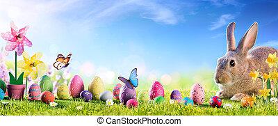 cute, prado, ovos, -, bunny easter