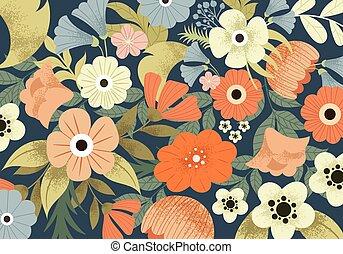 cute, prado, padrão, flores mola, bonito