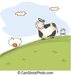 cute, prado, vaca