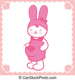 Cute pregnant bunny. Vector illustration