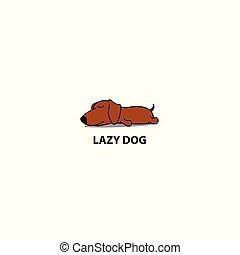 cute, preguiçoso, cachorro marrom, ilustração, dormir, vetorial, bassê, ícone, logotipo, filhote cachorro, desenho