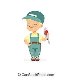 Cute preschool boy dressed as plumber. Cartoon child character playing adult worker. Kid learn about job and profession