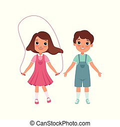 Cute preschooler boy and girl characters, students of elementary school, stage of growing up concept vector Illustration on a white background