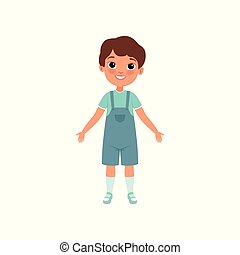Cute preschooler boy, stage of growing up concept vector Illustration on a white background