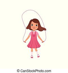 Cute preschooler girl jumping with skipping rope, stage of growing up concept vector Illustration on a white background