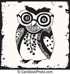cute, pretas, coruja, com, óculos
