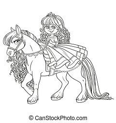 cute, princesa pequena, montando, ligado, um, cavalo branco, esboçado, quadro, para, tinja livro, branco, fundo