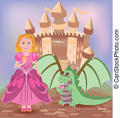 Cute princess and little dragon