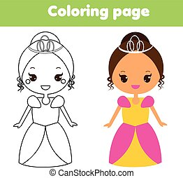 Cute princess. Coloring page. Drawing educational game for toddlers kids. Printable activity