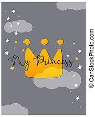 Cute princess crown card, kids background. Vector illustration.
