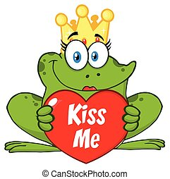 Cute Princess Frog Cartoon Mascot Character With Crown Holding A Love Heart With Text Kiss Me