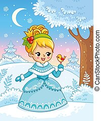 Cute princess in a cartoon style in snow forest and holding a bird in her hands.