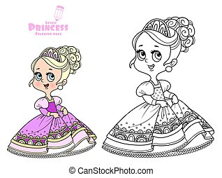 Cute princess in a pink dress outlined and color for coloring book