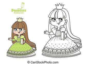 Cute princess in green dress hold a book under her arm outlined and color for coloring book