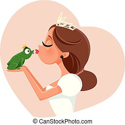 Cute Princess Kissing Prince Frog Illustration - Fairy-tale...