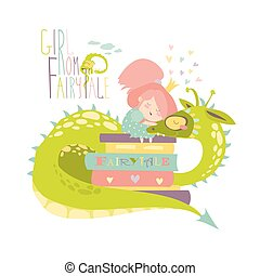 Cute princess sitting on pile of books and hugging the dragon