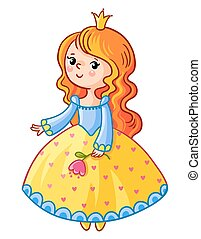 Cute Princess stand on a white background.