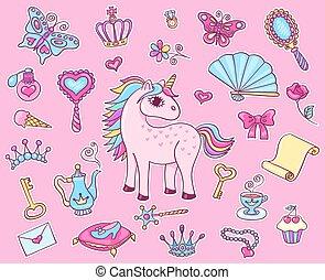 Cute princess sticker set with unicorn