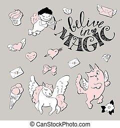 Cute princess sticker set with unicorn.