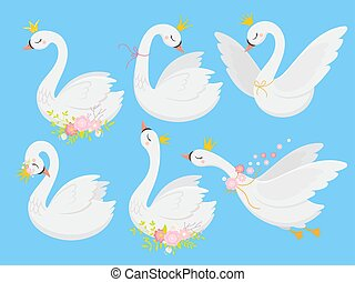 Cute princess swan. Beautiful white swans in gold crown, cartoon goose bird and duckling vector illustration set