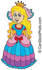 Cute princess with long hair - vector illustration.