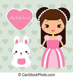Cute princess with rabbit pet. Girl in pink dress and bunny. Vector illustration in kawaii style