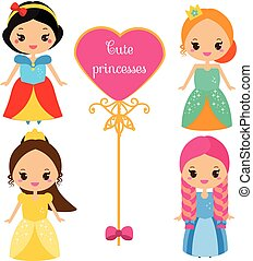 Cute princesses in colorful dresses in kawaii style. Girls in queen costumes. Vector collection of cartoon female characters