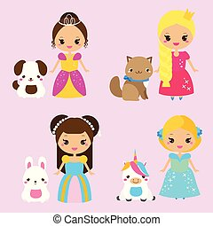 Cute princesses with lovely pets. Vector illustration in kawaii style