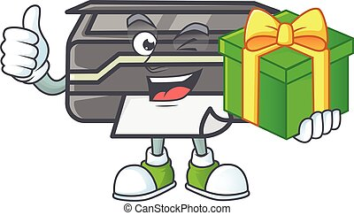 Cute printer character holding a gift box
