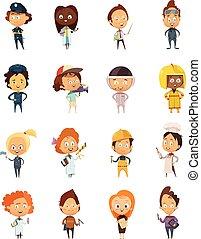 cute, profissões, pessoas, caricatura, ícones